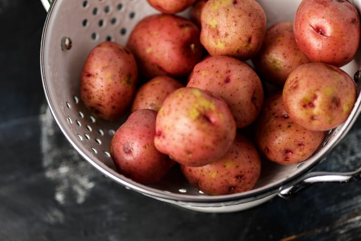 A colander of new potatoes