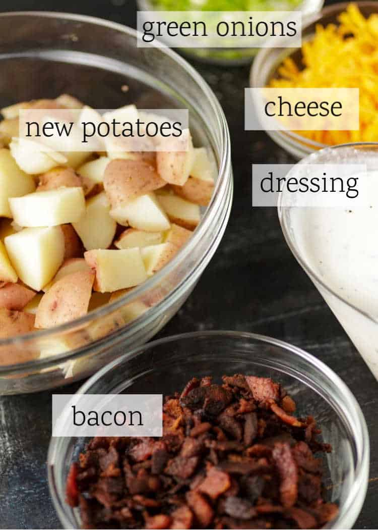 The ingredients for ranch potato salad