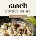 A bowl of potato salad with bacon and ranch dressing