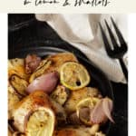 A platter of roasted chicken with lemon slices and shallots