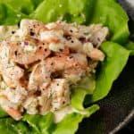 A scoop of shrimp salad on lettuce