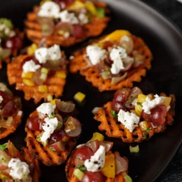 A platter of sweet potato appetizers