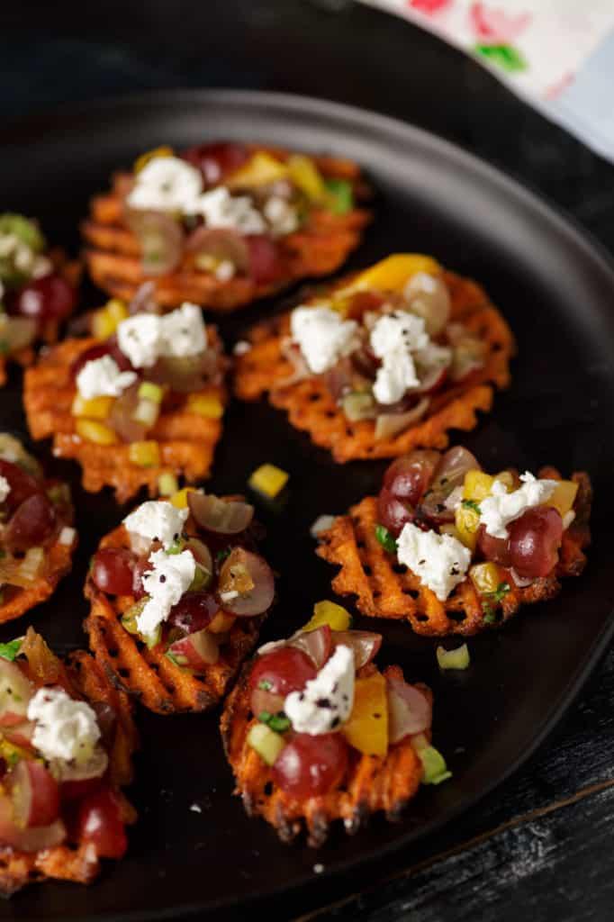 A platter of sweet potato appetizers