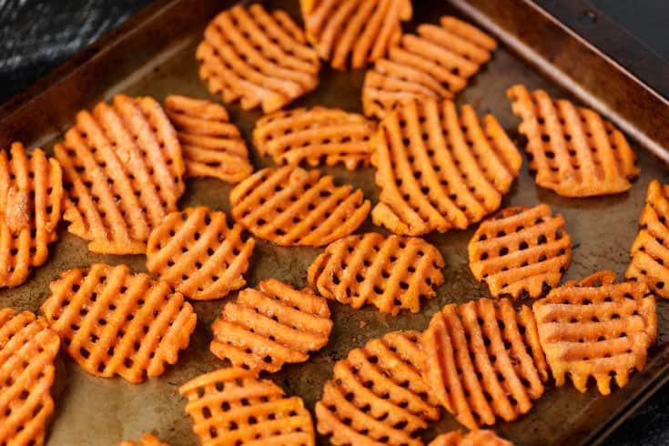 A baking sheet of sweet potato fries