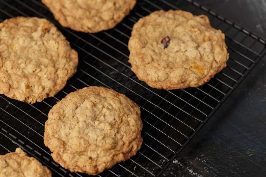 Old fashioned oatmeal cookies on a cooling rack