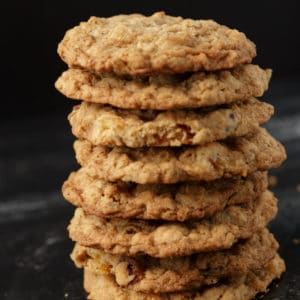 A stack of large cranberry apricot oatmeal cookies