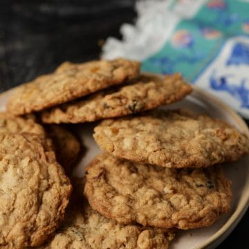 A plate of soft and chewy oatmeal cookies
