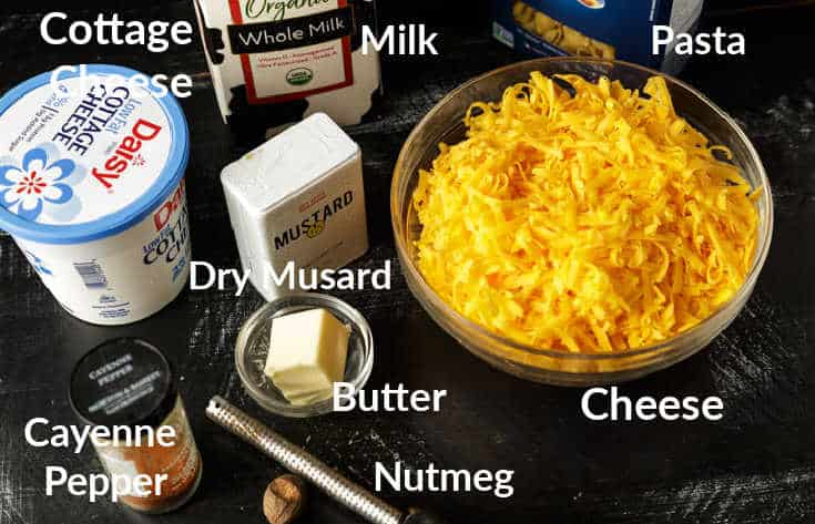 All the ingredients for mac and cheese