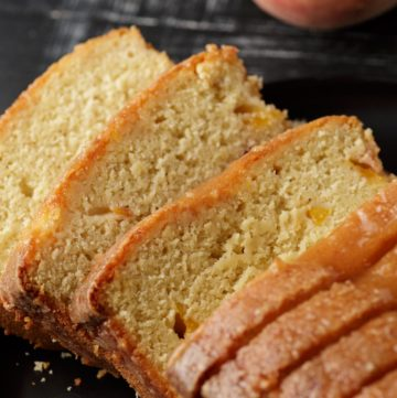 A sliced peach pound cake