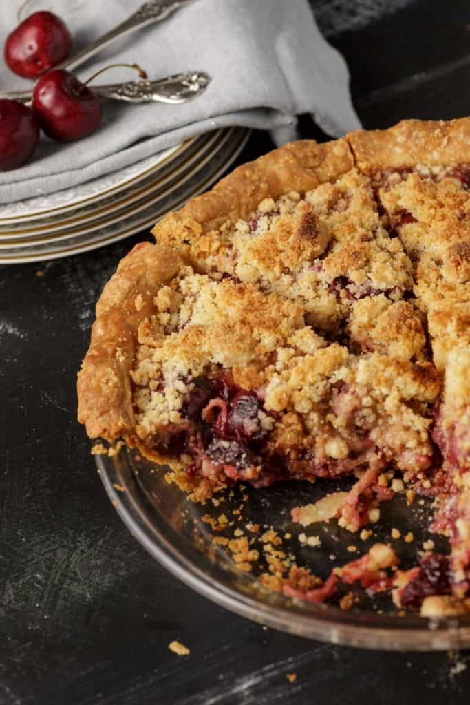 A cut cherry pie