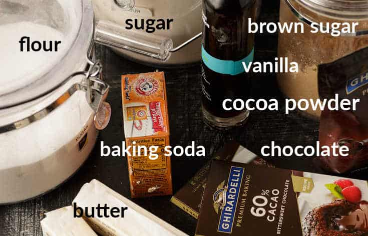 Ingredients for chocolate cookies