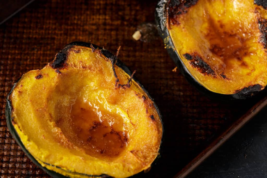Acorn squash after being broiled