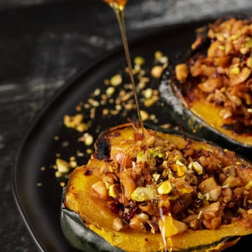 Acorn squash with honey drizzled over the top