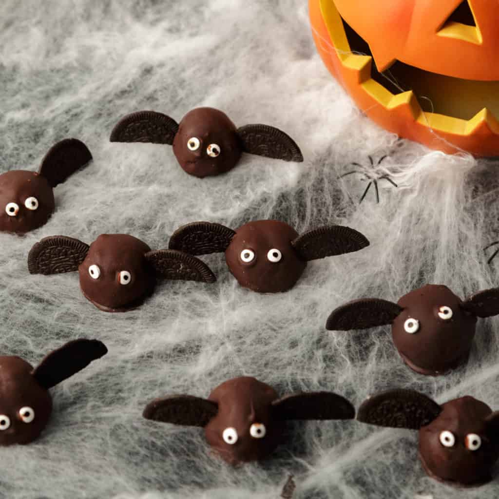 Oreo truffles decorated as bats