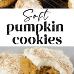 A soft pumpkin cookie with a bite taken out of it