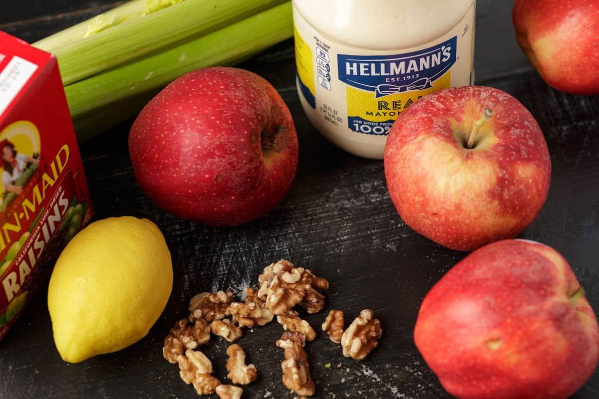 Ingredients for apple Waldorf salad