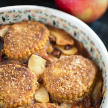 A baking dish of apple cobbler