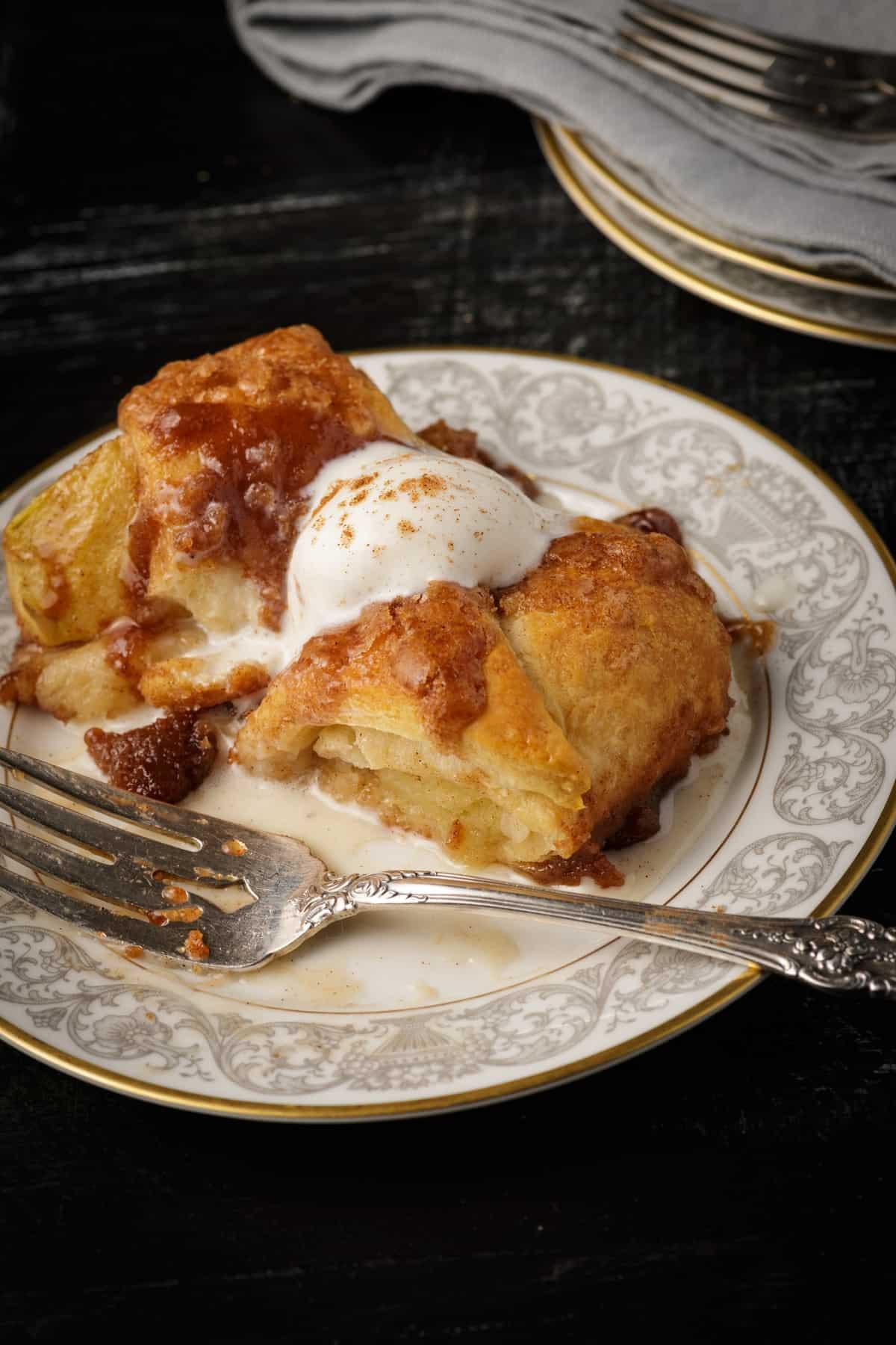 A dessert plate with an apple dumpling