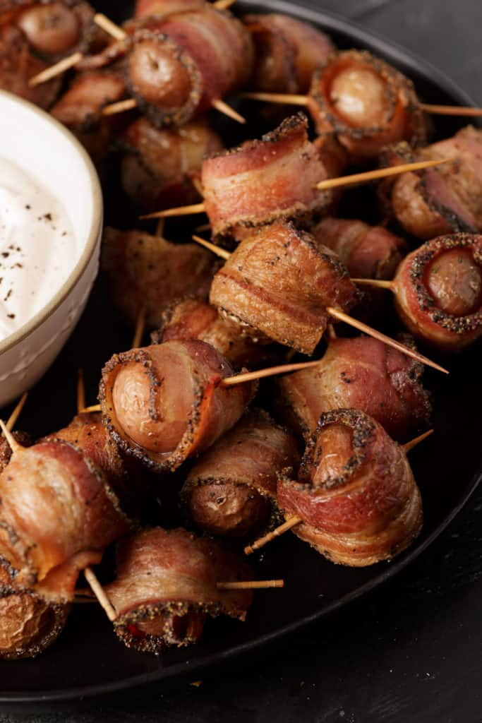 A platter of bacon wrapped potato bites