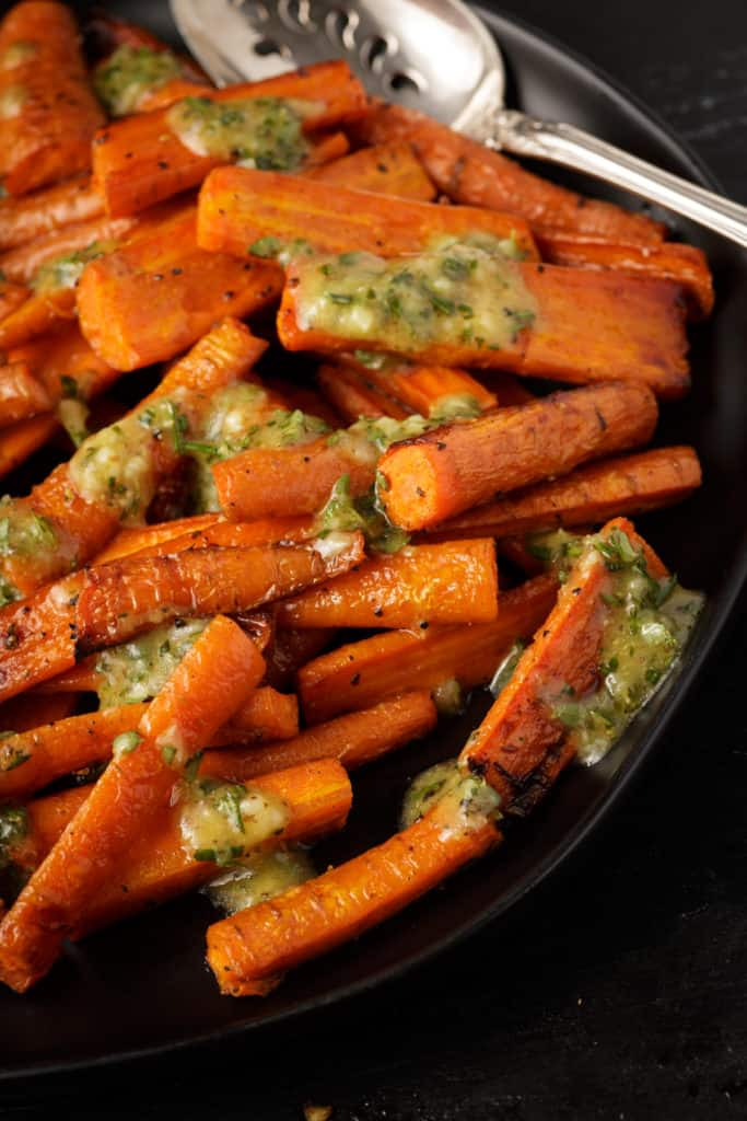 A platter of roasted carrots