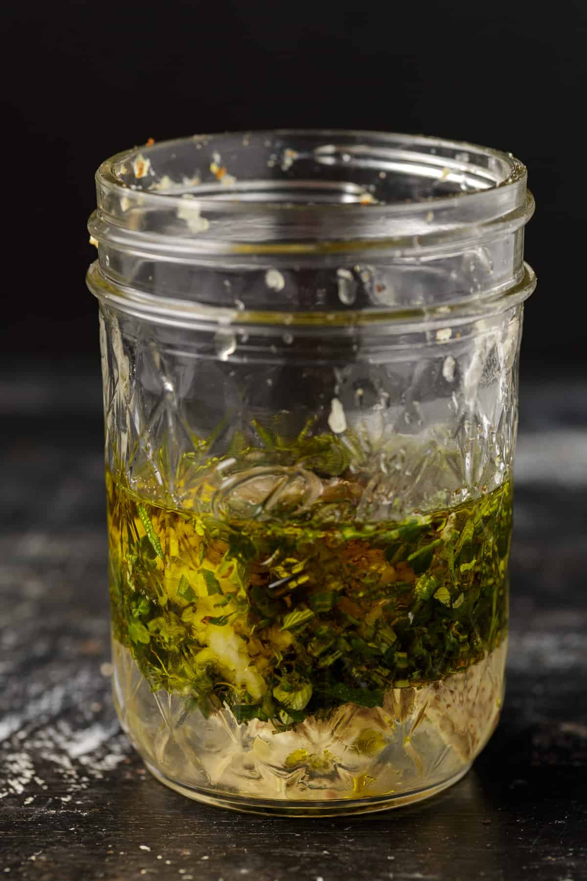 A jar of salad dressing