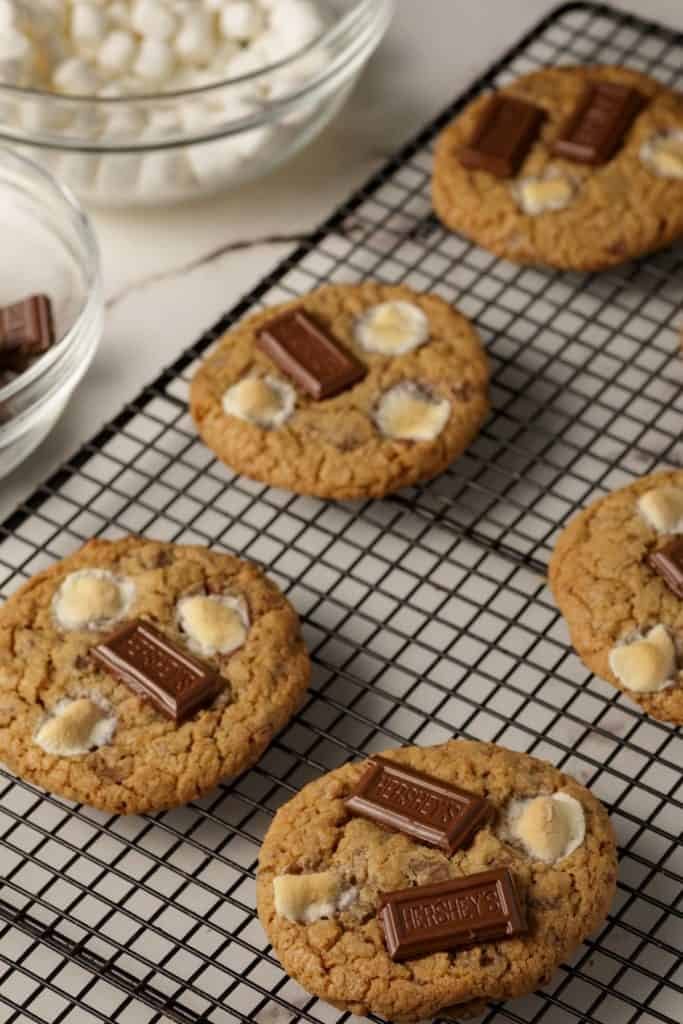 Chocolate added to the top of S'mores cookies