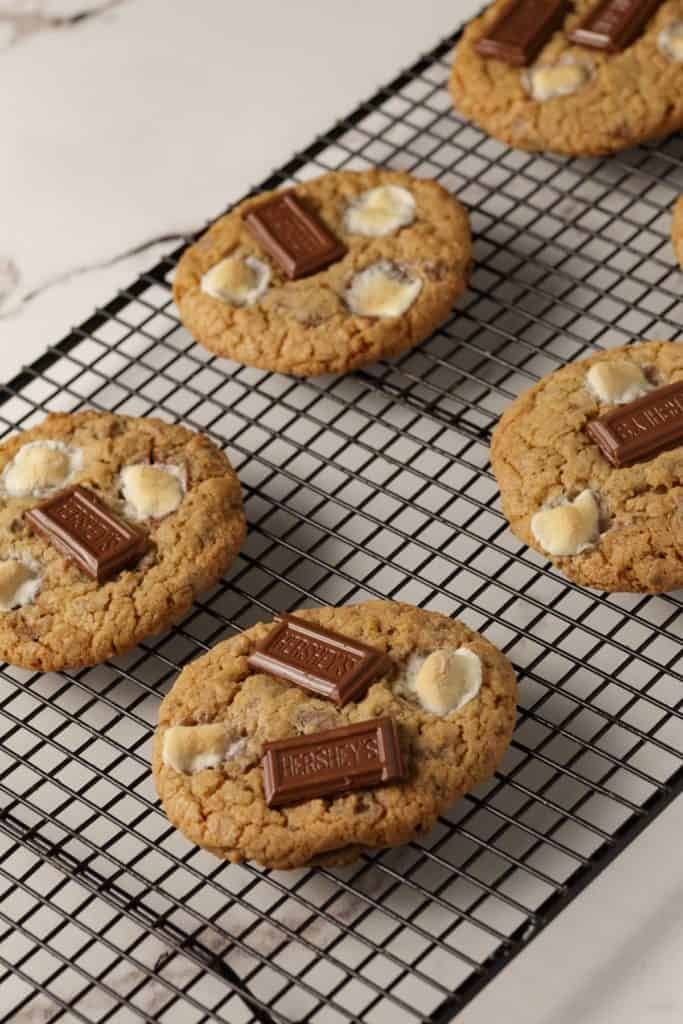 A cooling rack of S'mores Cookies