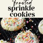 sprinkle cookies on a rack with sprinkles being added