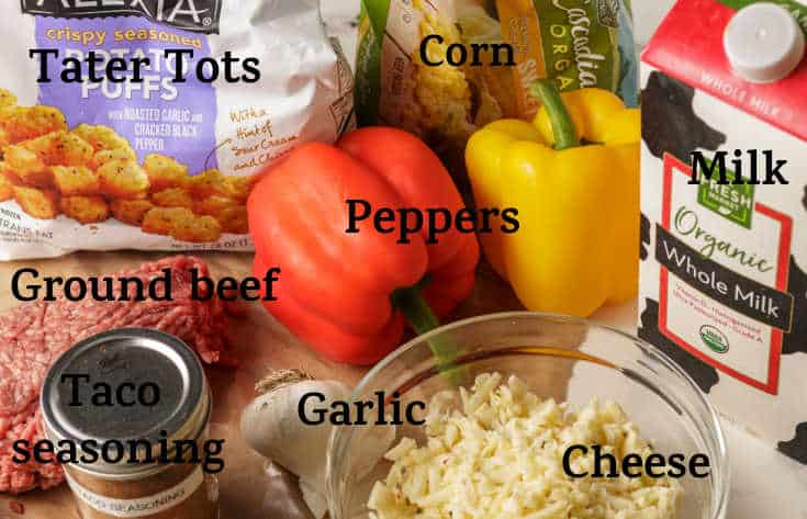The ingredients for tater tot casserole