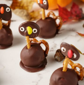 Thanksgiving turkey Oreo truffles with Fall decorations