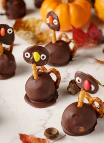 Thanksgiving turkey Oreo truffles with Fall decorations