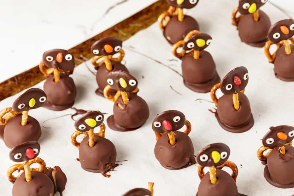 Turkey truffles on parchment paper