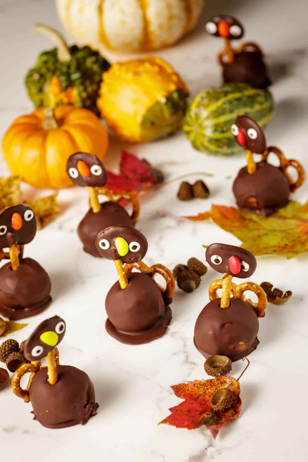 Thanksgiving Oreo truffles with fall decorations