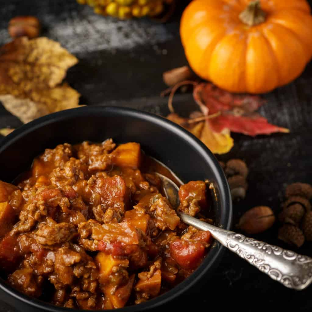 A Bowl of chili with sweet potatoes