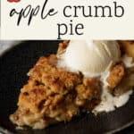 A slice of apple crumb pie with vanilla ice cream