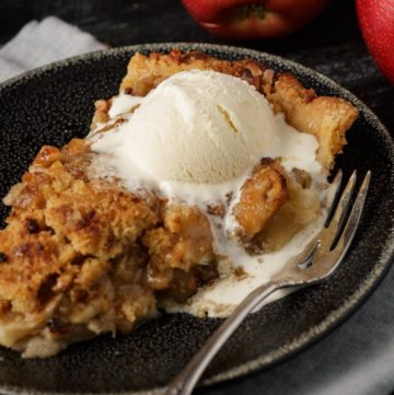 Homemade apple crumble pie