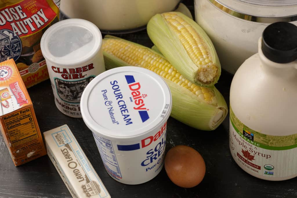 All the ingredients for cornbread
