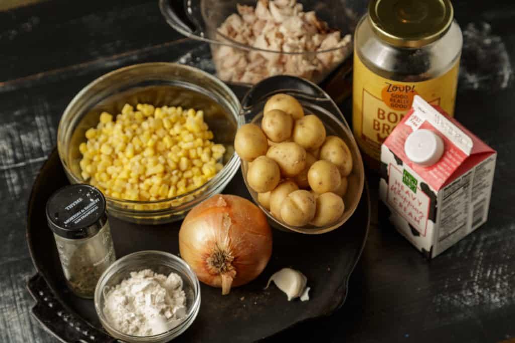 Ingredients for homemade chicken pot pie