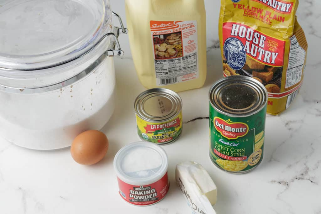 Ingredients for cornbread