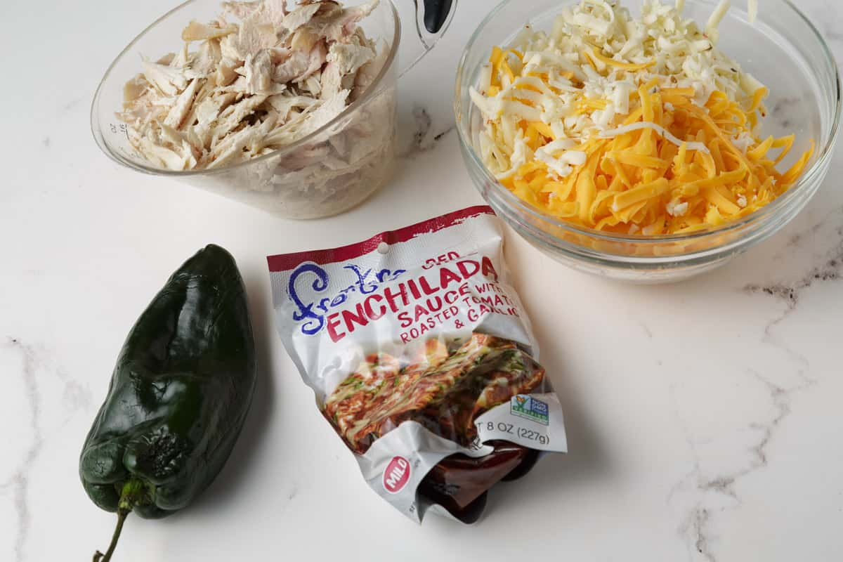 Ingredients for the chicken filling