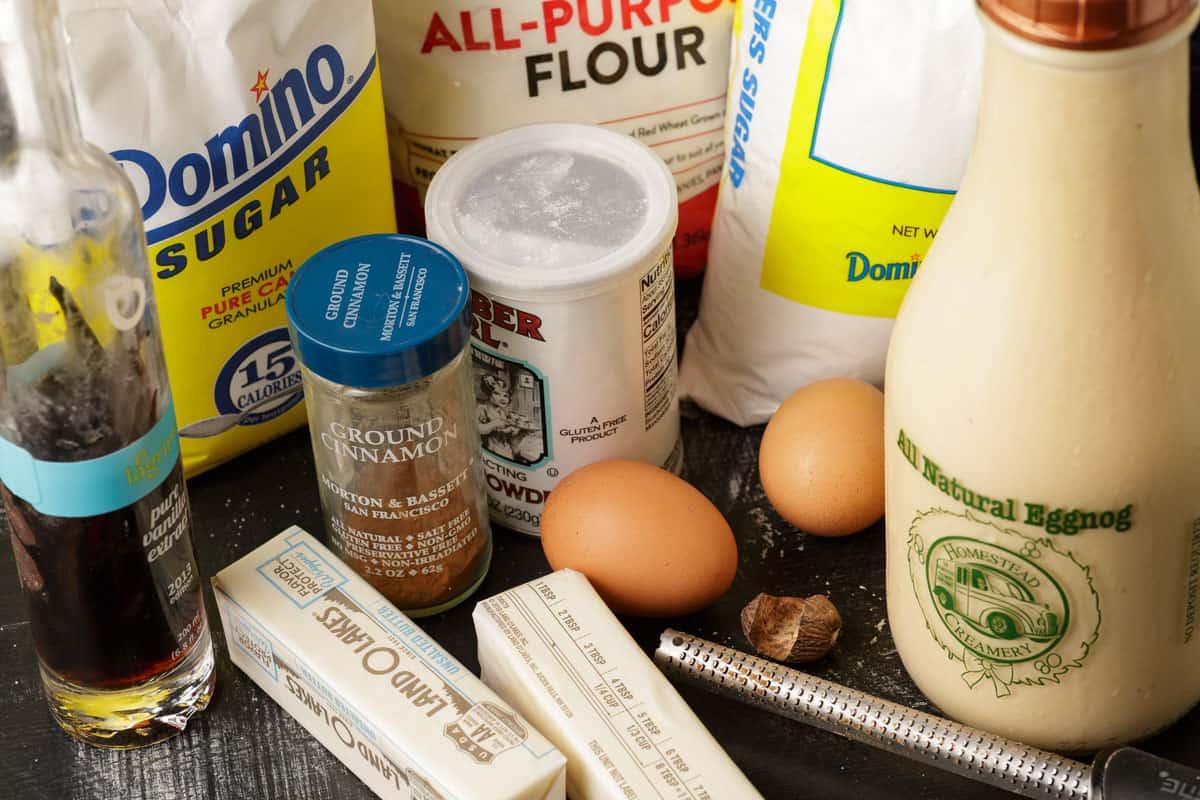 ingredients for eggnog cookies