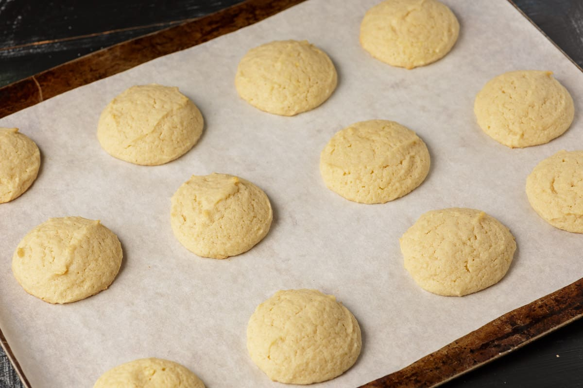 Baked eggnog cookies on a baking sheet