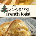 Overnight french toast in a casserole dish with a serving on a plate
