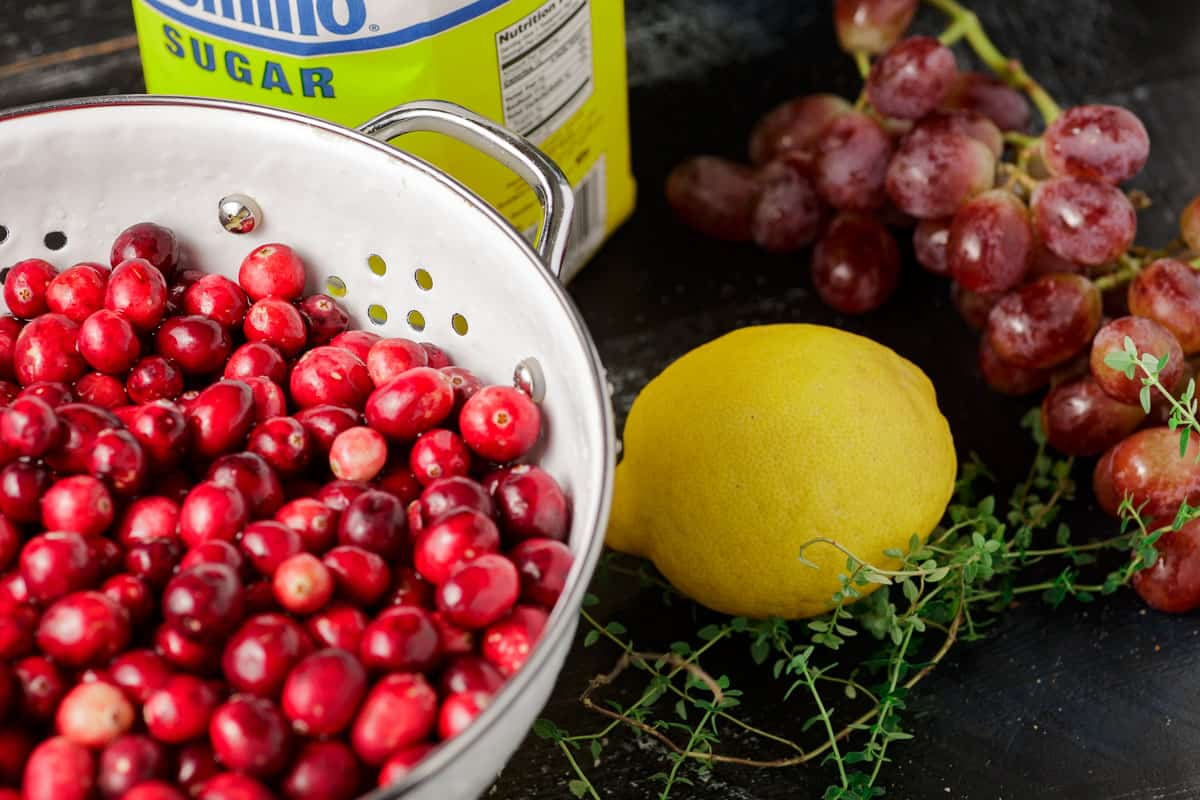 The ingredients for roasted cranberry sauce