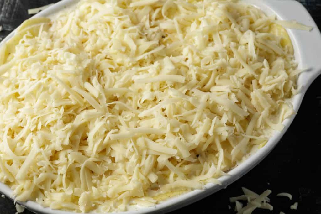 Cheesy covered scalloped potatoes