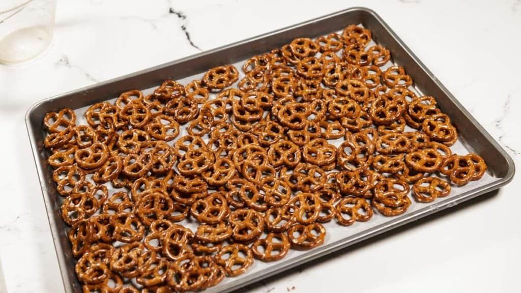 A baking sheet of pretzels