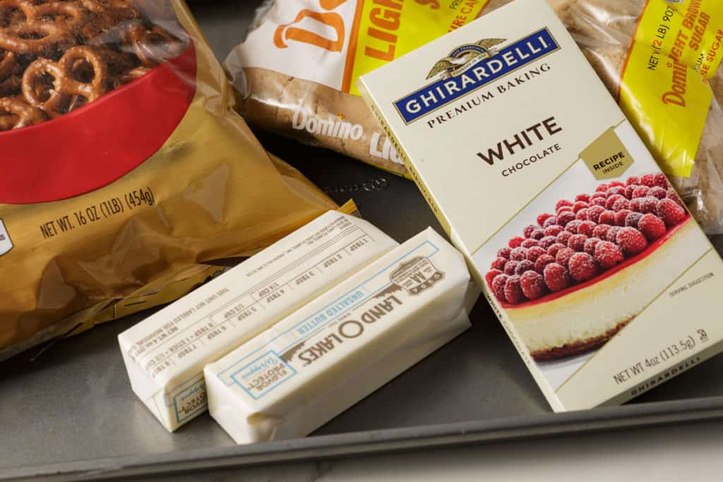 The ingredients you'll need to make white chocolate pretzel bark