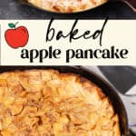 A baked apple pancake in an iron skillet
