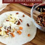 Make ahead breakfast burrito with sweet potatoes