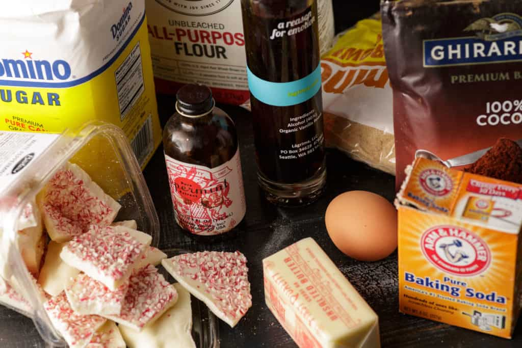 Ingredients for peppermint  chocolate cookies